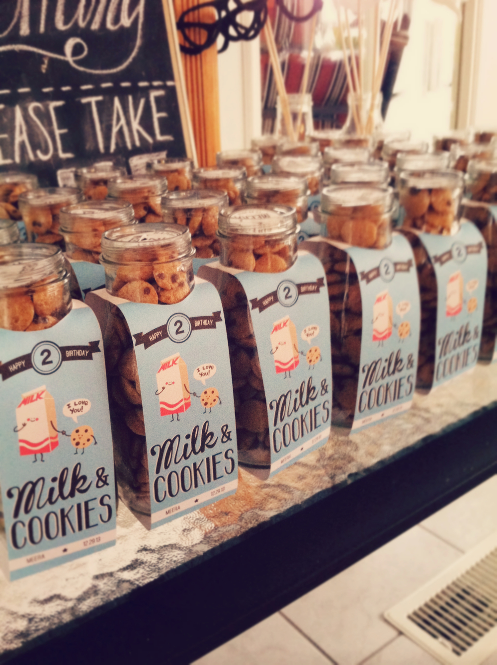 milk and cookies party favor