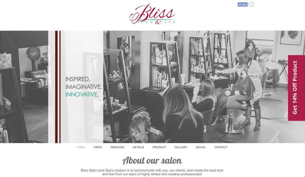 Bliss Salon and Spa Website Screenshot