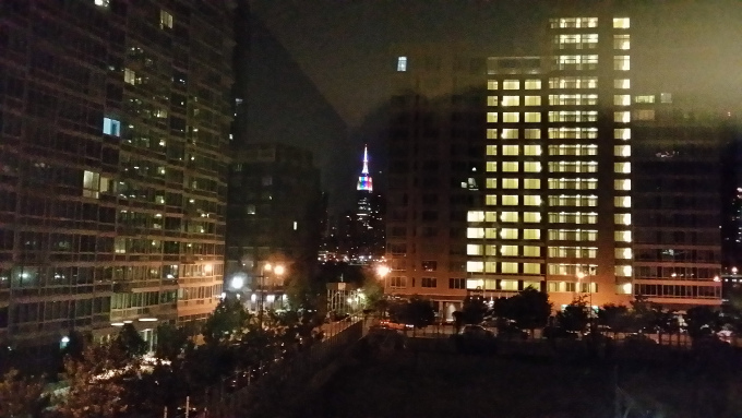 The Empire State Building at night from where I stayed.