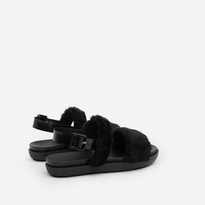 furry sandals zara