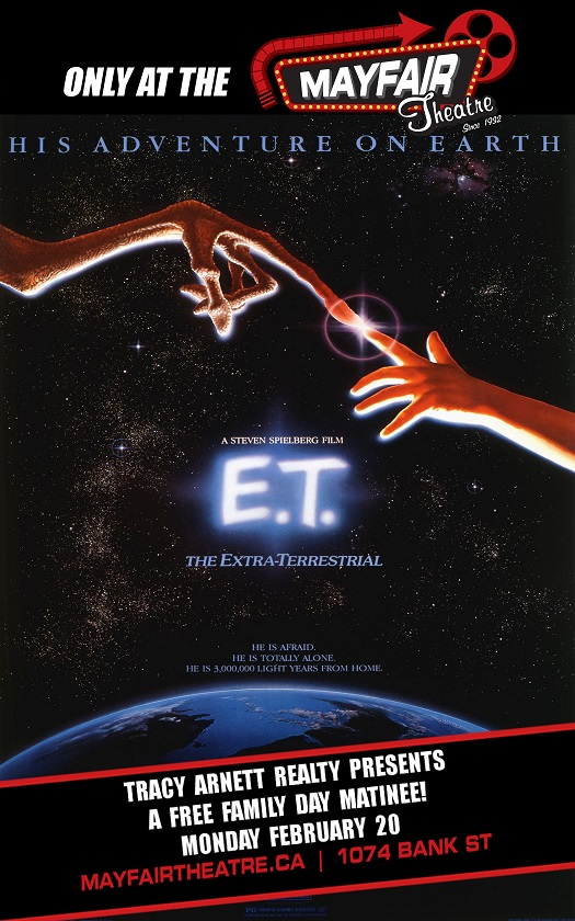 Our pals. The Mayfair Theatre - right across the street, are having a free showing of E.T. at 10am on Family Day. Classic Movie + Classic Arcade = Family Day in Old Ottawa South!