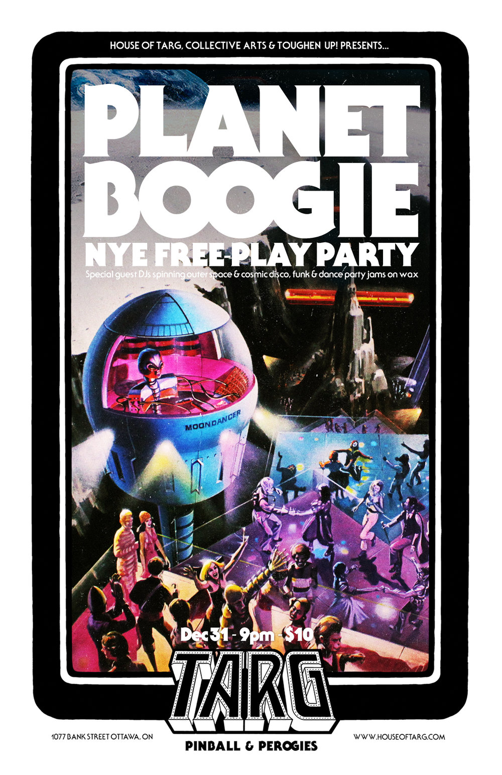 Sun Dec 21 PLANET BOOGIE SPACE DISCO FREE-PLAY NYE PARTY!.  $10 gets you the best NYE deal in the cosmos. Expect familiar and rare space jamz by Commander KJ and his funky guest DJ crew. Oh ya and all the vid games & pinball machines will be on freeplay.   more info here