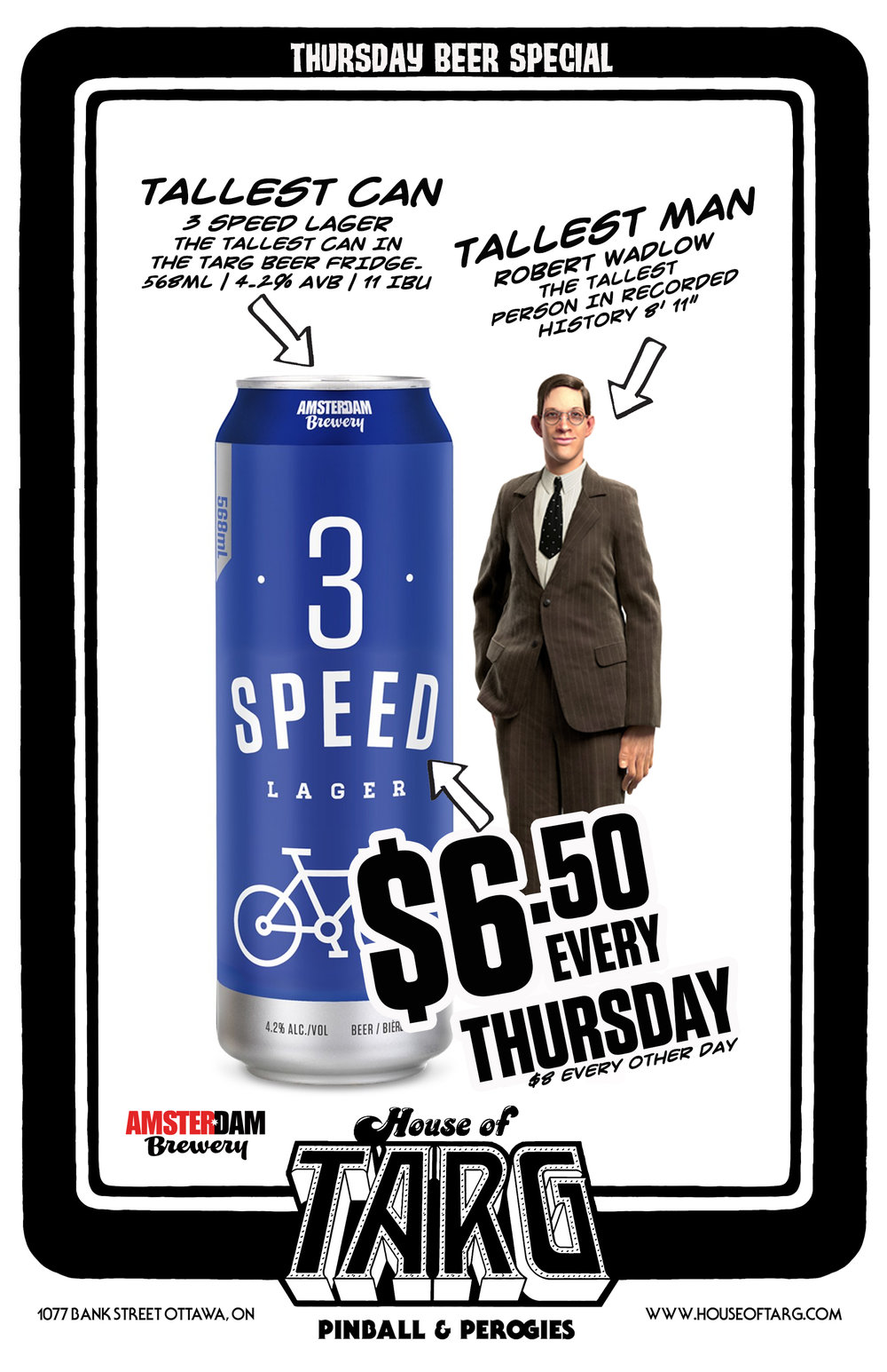 EVERY THURSDAY  JUST $6.50 FOR THE TALLEST CAN IN OUR FRIDGE…. AMSTERDAM 3 SPEED LAGER - 568ml