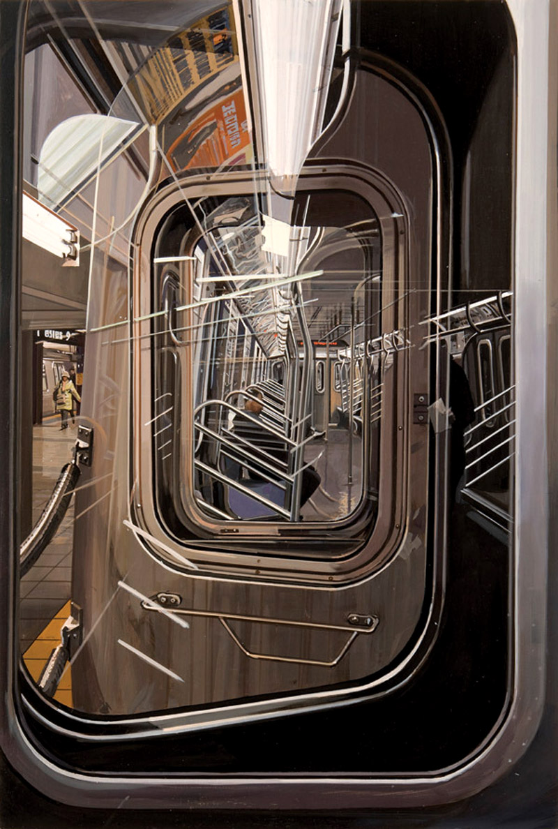 likeafieldmouse :      Richard Estes  -  The L Train  (2009) - Oil on board