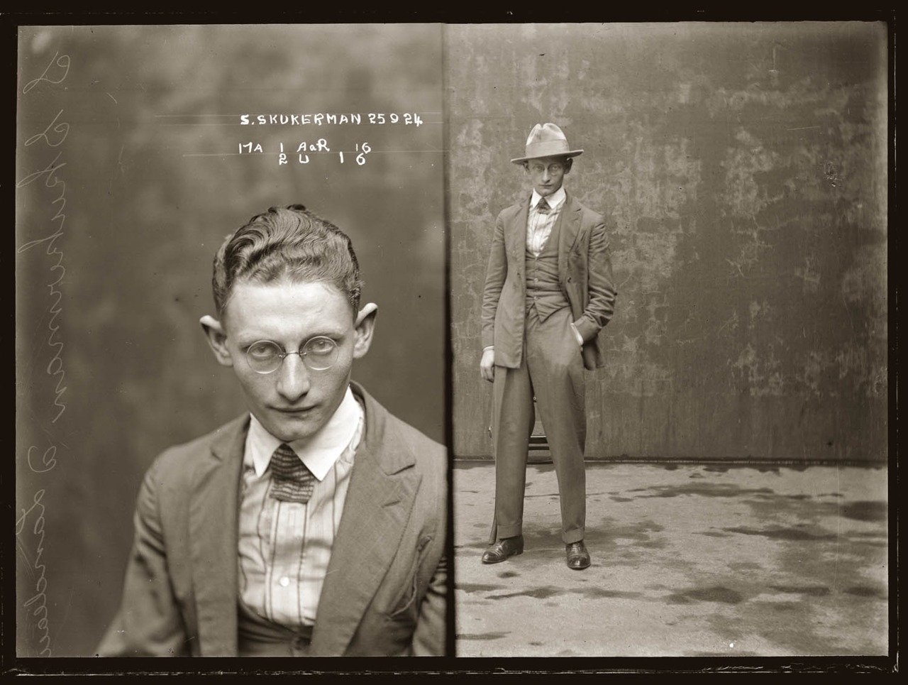 oldmugshots :      Mug shot of Sydney Skukerman, or Skukarman, 25 September 1924, Central Police Station, Sydney     An entry in the Supplement to the NSW Police Gazette Sydney for Skukerman, (alias Kukarman, alias Cecil Landan) is captioned 'obtains goods from warehousemen by falsely representing that he is in business'.