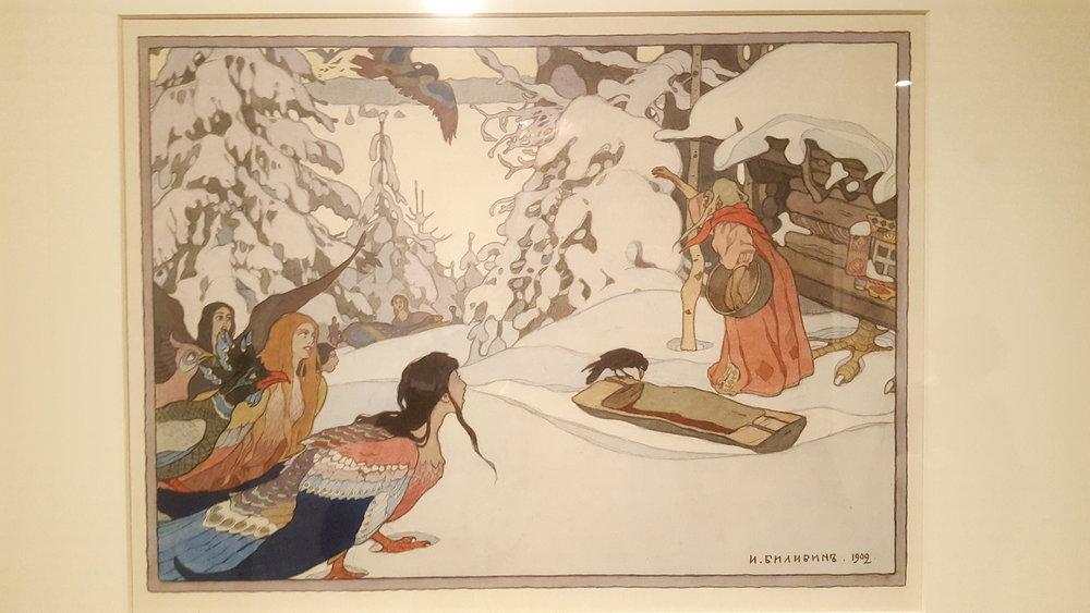 Ivan Bilibine (illustrateur des contes russes de mon enfance) : Baba Yaga et les femmes oiseaux