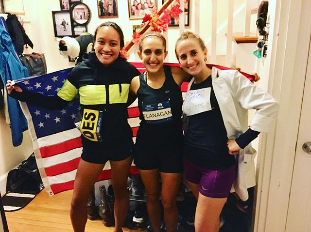 total win when you show up dressed as @des_linden and your friends are @shalaneflanagan and Sarah Sellers and it's totally unplanned. Can't wait to cheer these women on tomorrow!
