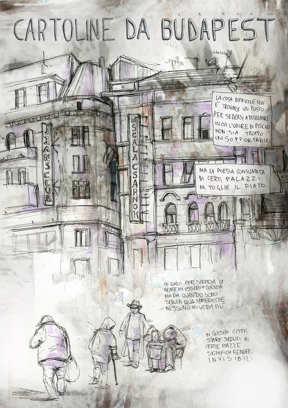 The most difficult thing to do here is to find a place for drawing, where the urine smell is not unbearable.  The worn out poetry of this buildings is breathtaking.  While walking in the street people tend to stare at me, but since I sat here it look like nobody can see me.  In this city, hanging out in certain squares makes you invisible.