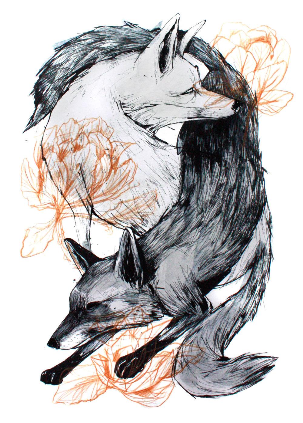 Foxes Tao, 30x40cm