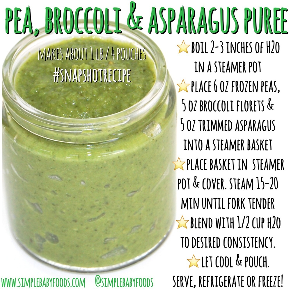 Snapshot recipe pea broccoli asparagus simple baby foods this stage 2 puree is high in vitamins a b c e k folic acid cancer fighting phytonutrients see our blenders corkscrews video post to make this forumfinder Image collections