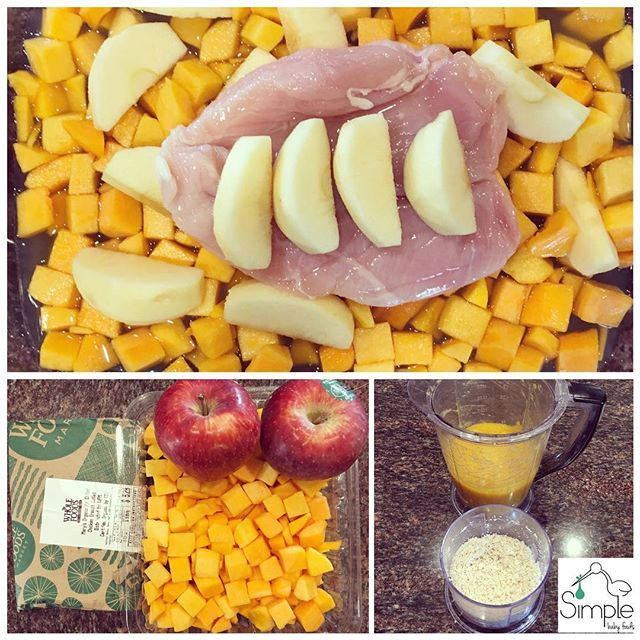 CHICKEN•BUTTERNUT SQUASH•APPLE (6+ months): ⭐️Pre-heat oven to 400. ⭐️Wash, peel & dice 1.5 lbs of butternut squash & wash, peel, core & wedge 2 apples. Place in a casserole dish. Top with 1/2 lb of chicken. Add 1-2 cups of low sodium chicken stock. ⭐️Cover with foil. ⭐️Cook about 30-45 minutes until the chicken is cooked & butternut is fork tender. ⭐️Puree the butternut squash & apple to your desired consistency. Add the leftover stock a little at a time. New eaters need a smoother puree, 8+ months a bit chunkier. ⭐️Separately pulse the chicken to your desired consistency. No stock is necessary. It turns almost into a powder. ⭐️Mix the ingredients together & serve! ⭐️Makes 1.5 ice cube trays or 6-7 pouches of food. 😍🍎🍗🍴❤️. . . . . #babyfood #homemadebabyfood #homemade #diy #baby #mom #momlife