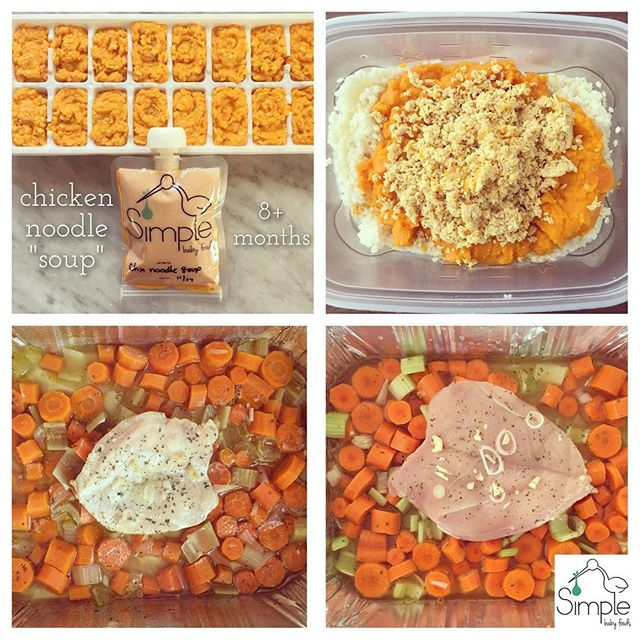 "CHICKEN NOODLE ""SOUP"" puree (8+ months): 🥘pre-heat oven to 400 🥘wash, peel & cut 1 lb of carrots into 1 inch pieces. Wash, string & cut 3 pieces of celery into 1 inch pieces. Chop one small shallot & 1 clove of garlic. Add all to a casserole dish. Top with 1/2 lb piece of boneless chicken. Add a tablespoon evoo & a sprinkle of dried parsley, and 1-2 inches of low sodium/no salt chicken stock. Cover with aluminum foil & bake in oven for 30-45 minutes until the chicken is cooked & the carrots are tender 🥘 Make 1/4 cup of pastina (small stars or whatever small pasta you have) according to package directions. Drain & set aside in a mixing bowl 🥘 Once cooked, pulse the chicken without liquid to your desired consistency, add it to the pasta. Then purée the veggies with 1/4 cup of grated Parmesan to your desired consistency adding as little or as much of the cooking liquid as desired. Add to the pasta & chicken. Hand stir it all together. 🥘 makes about 1.5 trays of food or 7 pouches. Freeze for up to 3 months, refrigerate for up to 3 days or eat right away! 😊🌟👶🏻 #homemadebabyfood #homemade #baby #babyfood #recipe"