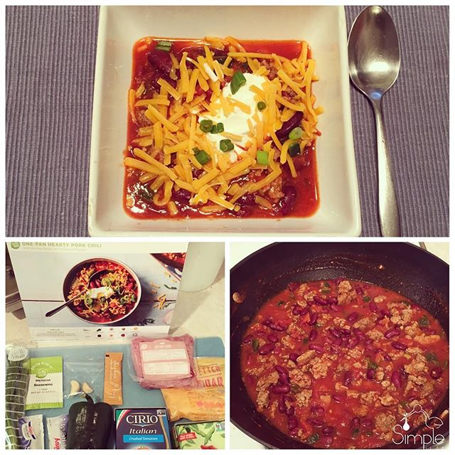 Night one with @hellofresh was one-pot pork chili. It was definitely tasty and I cooked it in about 30 minutes. My hubs, @kierenhutchison would probably need a bigger portion, but splitting my portion with my son was just about right (no option for 3 person families). I want to follow the recipes this week, but will probably add veggies to bulk it up in the future. All & all it was nice to not have to think about what to cook for dinner & it had great flavor! #notanad #notpaidtosaythis #dinner #hellofresh