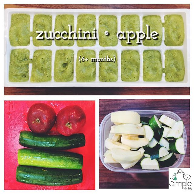 ZUCCHINI•APPLE (6+ months): It's important to keep the skins on with the zucchini because that's where all the nutrients are! Also be sure to let the zucchini and apple sit before blending so that you can drain out the excess water first! ✅ Boil about 3 inches of water in a steamer pot ✅ Wash 1.5 lbs zucchini & 2 apples. Cut off zucchini ends and discard. Cut the rest into 1 inch chunks. Put in a steamer basket. Peel, core & wedge the apples, add to the steamer basket. ✅ Steam the fruit & veg for about 10 minutes until they are fork tender ✅ transfer to your blender and let sit for a few minutes. Drain the excess water that collects ✅ Blend to your desired consistency ✅ freeze for up to 3 months! . . . #babyfood #homemadebabyfood #diy #weaning #simplebabyfoods #baby #mom #dad #organic