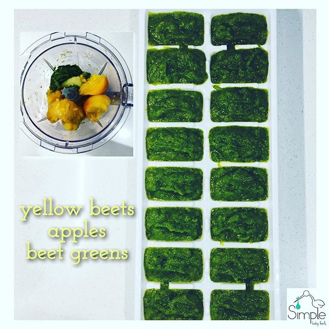 YELLOW BEETS•APPLE•BEET GREENS (8+ months): I love beets. They also happen to be super healthy & high in iron, which is especially important for breastfed babies (the one thing breast milk is low in is iron). 1 cube of this will give your baby lots of important vitamins and minerals! The apple takes the edge off the earthiness of the beet, which makes it an all around a yummy puree! 🍎pre-heat oven to 400 🍎cut the tops off 3-4 medium sized beets and set aside. Wash/scrub beets well with cold water. Put them in an oven dish with about 1 inch of water. Cover dish tightly with foil. Cook in the oven for about an hour. When the beets are fork tender, let them cool 🍎 While the beets cool, put 2 inches of water into a steamer pot and boil the water 🍎 remove beet green leaves from their stems & discard the stems. Place the greens in a bowl/dish and cover with cold water. Then remove the greens and dump dirty water. Do this 2-3 times until your water is clear 🍎 wash, peel, core & wedge 2 apples & put into a steamer basket. Steam the apples over the boiling water for about 5 minutes then add the beet greens for another 2-3 minutes until the greens are wilted/soft and the apples are tender. Put the apples & greens in your blender. 🍎 When the beets are cooled enough to handle, with your hands, (use food gloves if you have them) peel the skin off the cooked beets. It should slide right off. Add the beets to the blender with the cooked apple & greens 🍎 pulse/puree to your desired consistency 🍎 This puree makes about 20 oz of food. Freeze for up to 3 months, refrigerate for up to 3 days or serve it up immediately! . . . . #baby #babyfood #babyfoodrecipes #homemade #homemadebabyfood #simplebabyfood #mom #dad #recipe #diy #organic