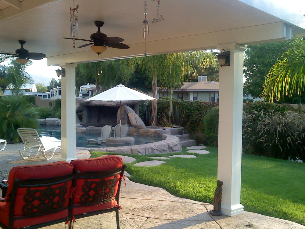 Full Solid Roof Patio Covers with Ceiling Fans, Palm Springs, CA