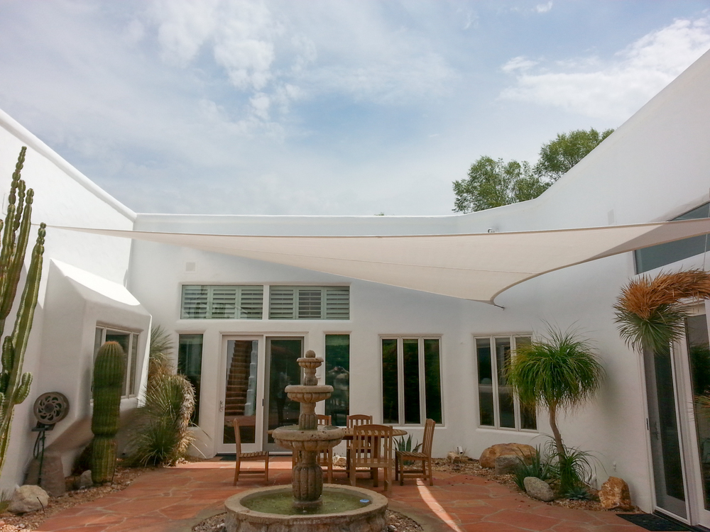 Shade sails custom tension structures fabric sails cloth shade covers valley patios - Picturesque patio shade ideas ...