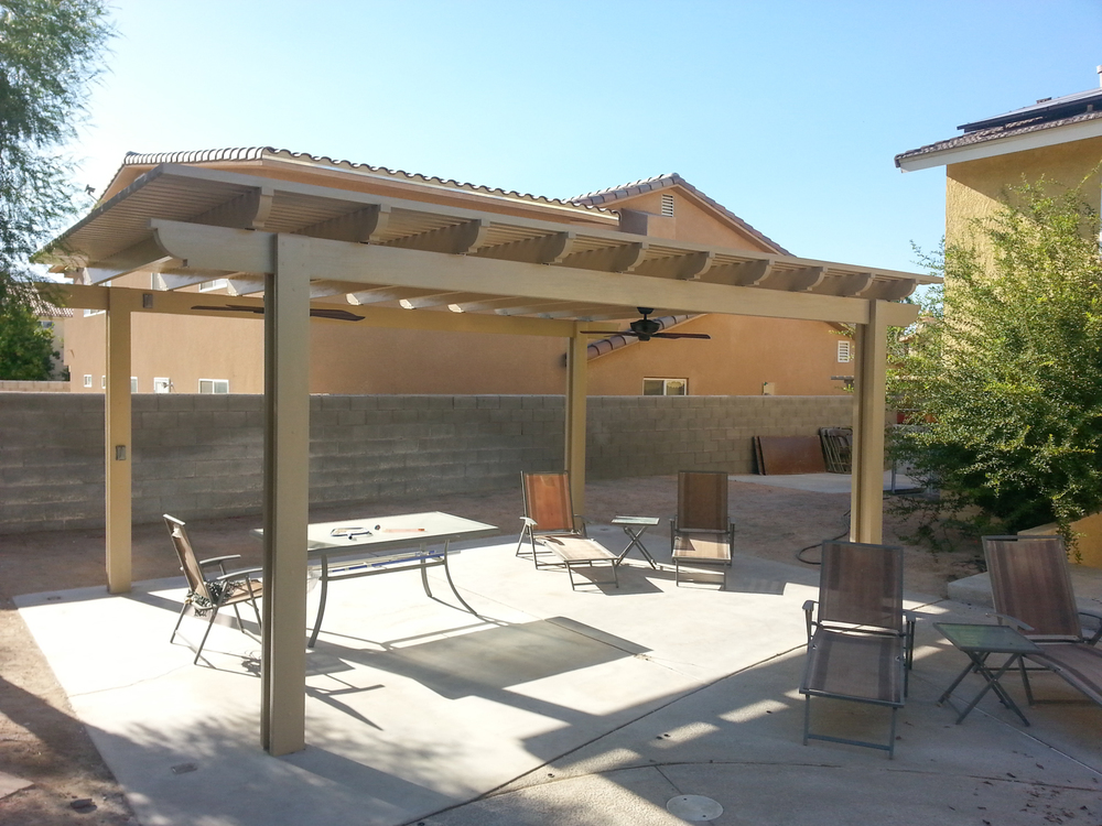 Gazebos shade structures valley patios palm desert for Freestanding patio cover