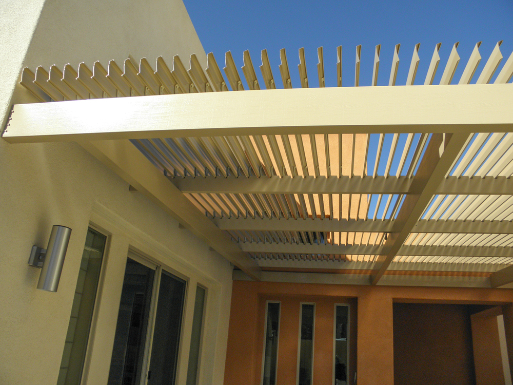 Fully Adjustable Patio Cover in Aluminum Weatherwood, La Quinta, CA, 92253 - Louvered Roof Adjustable Cover Photos — Valley Patios Custom Patio