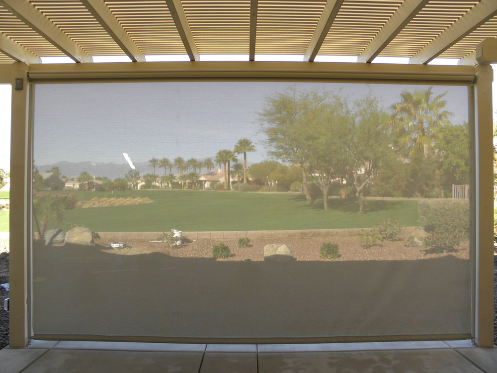 Patio Shades Ideas Retractable Shade Screen Fully Extended La Quinta Ca  92253 Retractable Shade Screen Fully