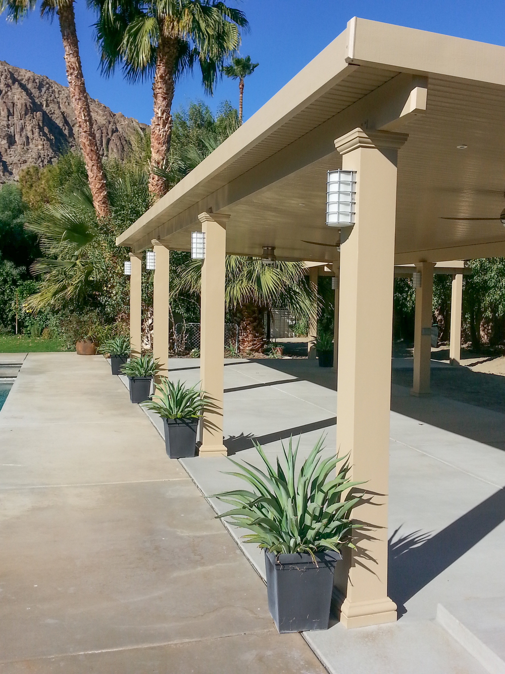 Custom Light Fixtures On Solid Patio Cover, Indio, CA
