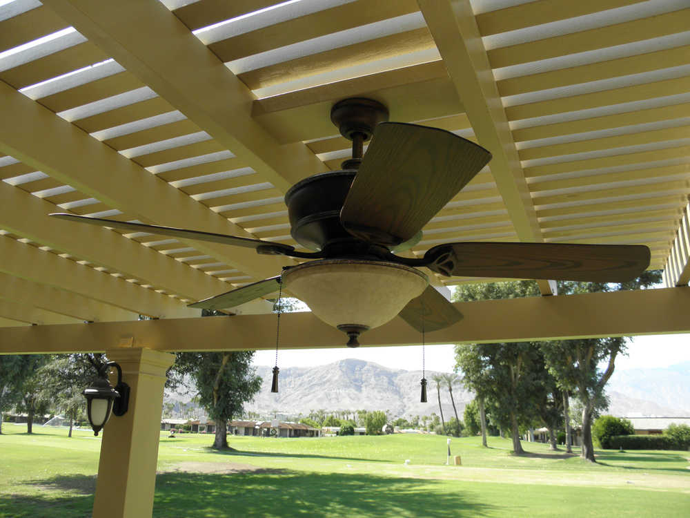 Lattice Patio Cover with Outdoor Fan, La Quinta, CA