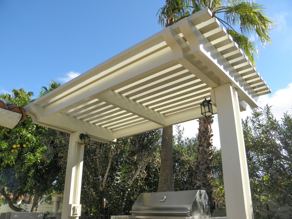Patio cover designs patio ideas valley patios palm for Shade structures
