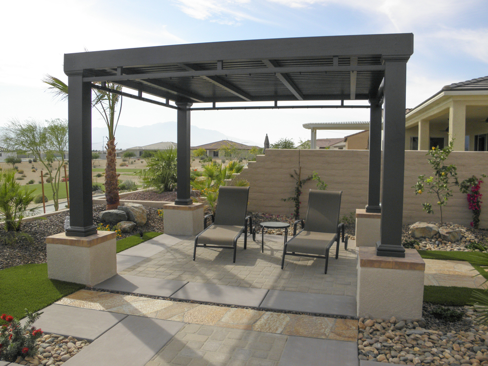 freestanding patio cover with custom concrete design indian wells ca 92210 - Patio Cover Ideas Designs