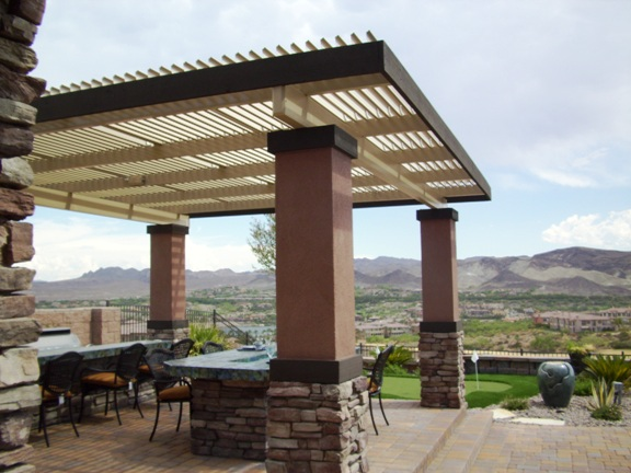 Freestanding Solara Adjustable Patio Cover with Stucco Columns, Palm Springs, CA