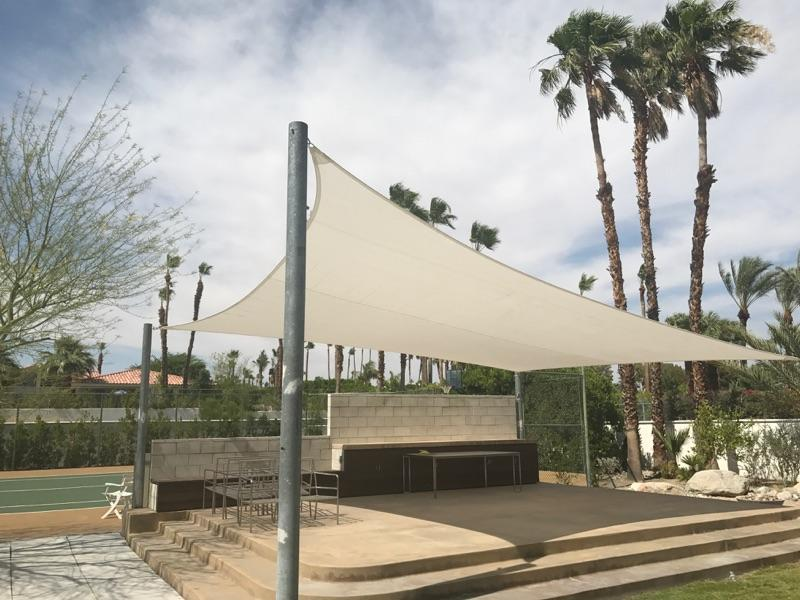 Modern white shade sail in Palm Springs, CA