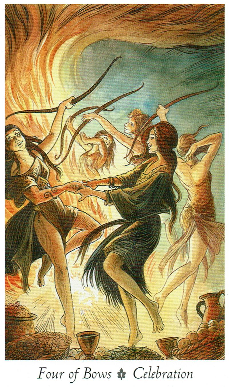 Four of Bows - Celebration - Wildwood Tarot
