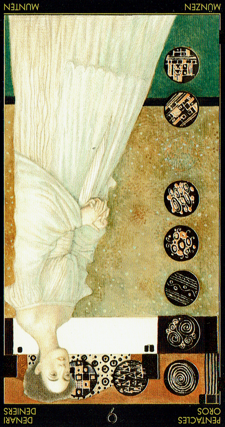 Nine of Pentacles Reversed from the Golden Tarot of Klimt.