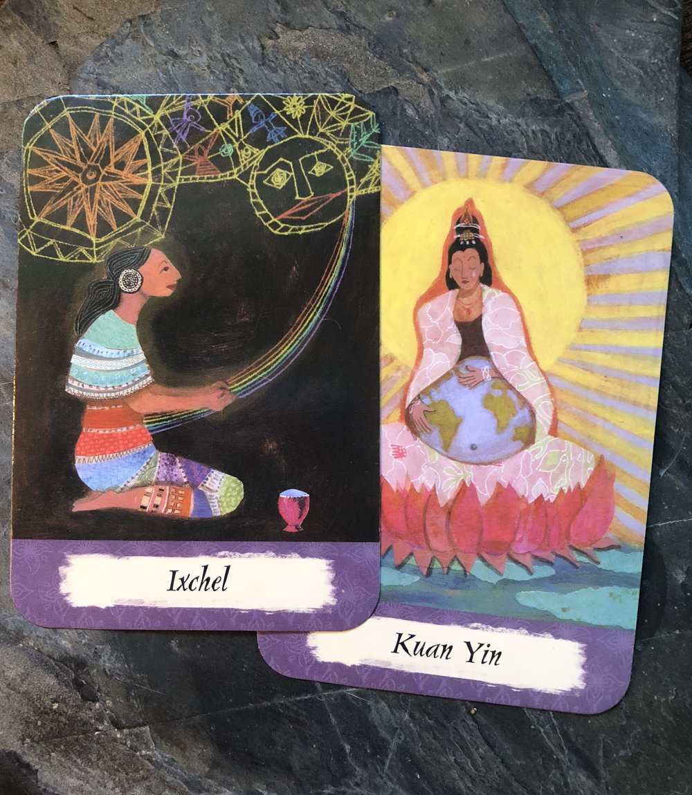 Ixchel & Kuan Yin from The Mother's Wisdom Deck