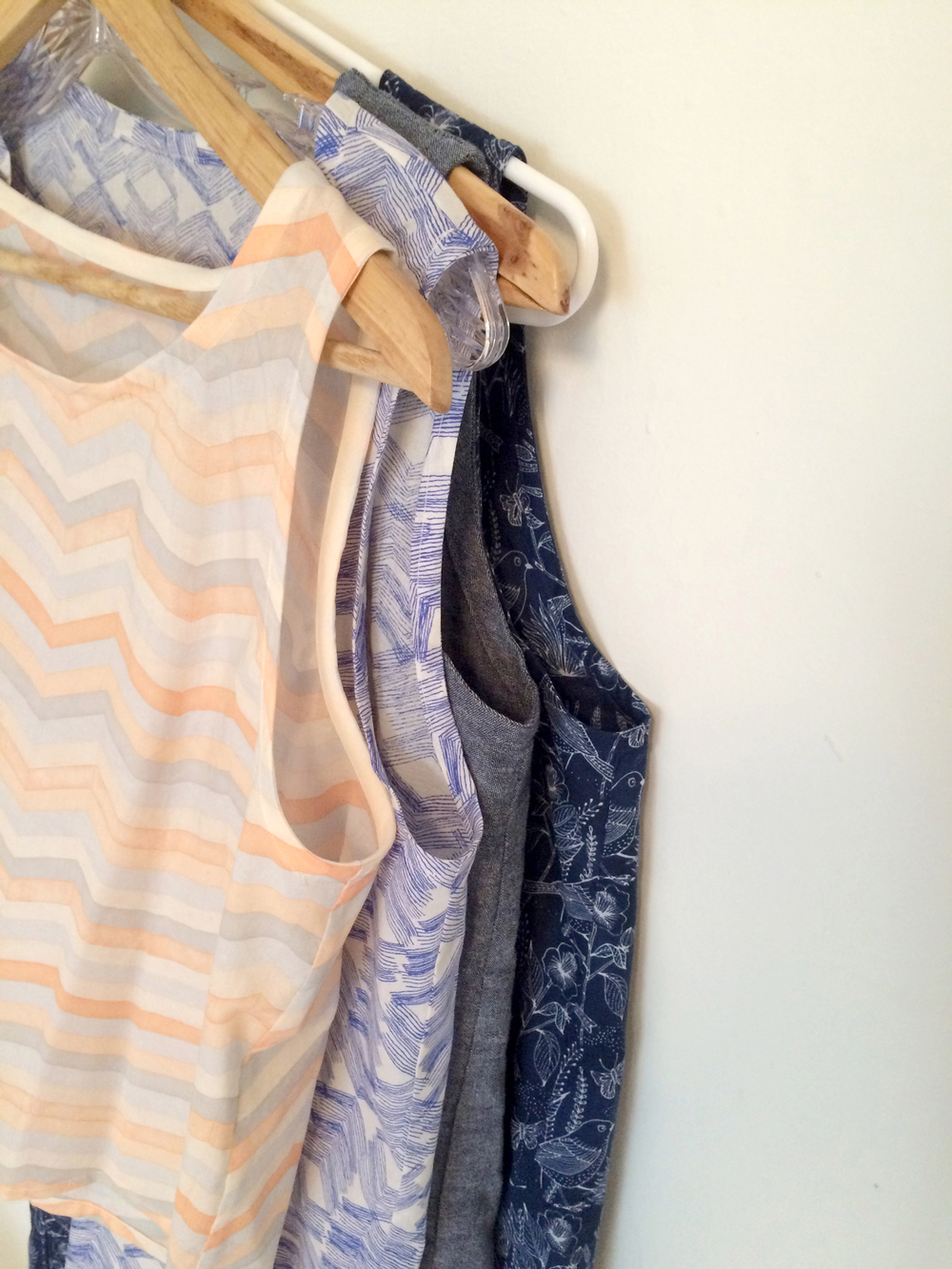 Front to Back: crop tank in cotton voile, Wiksten tank in cotton voile, Wiksten tank in chambray, Wiksten dress in cotton!