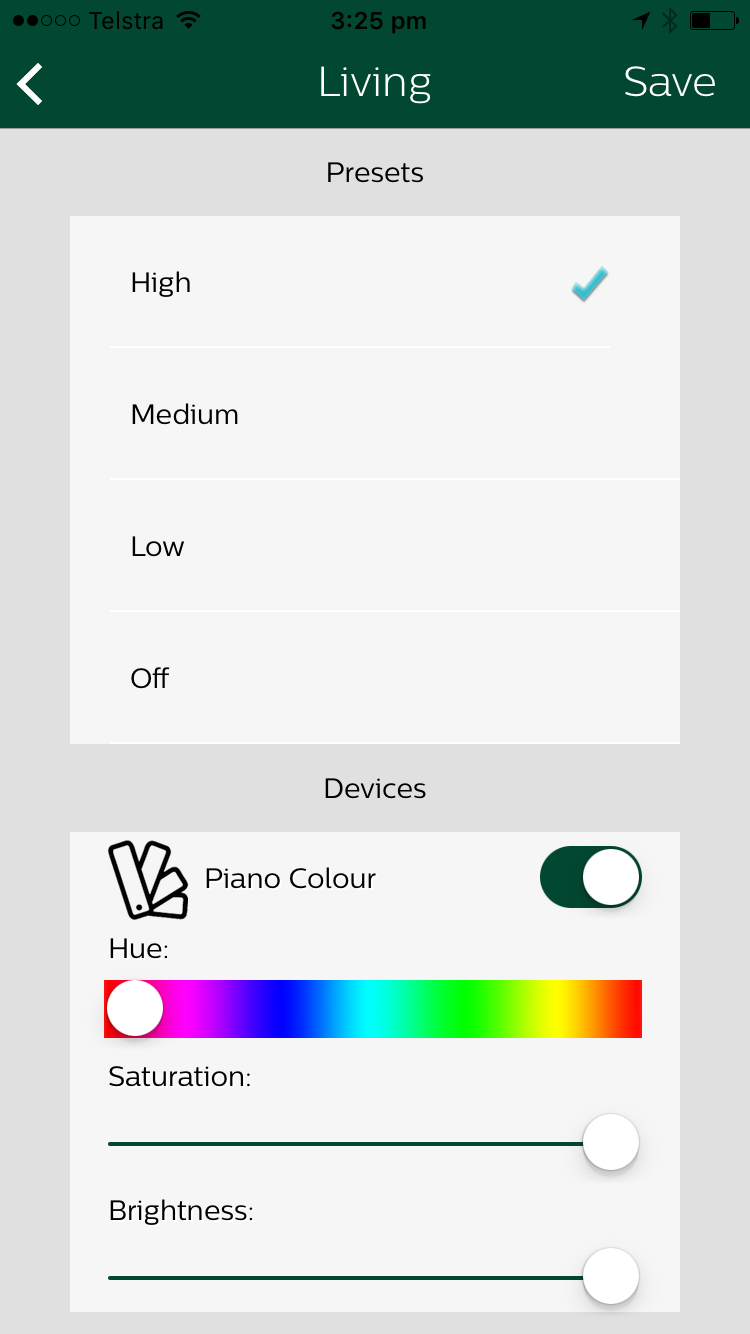 iPhone app control of Philips Hue lights