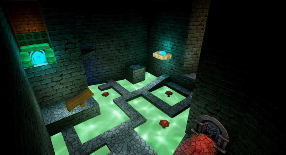 In the Wizard's first room, players are gated from returning to their entry point until they use the wizard to carry the other two members across the maze, and use the Druid to launch the Warrior through a portal to a switch.