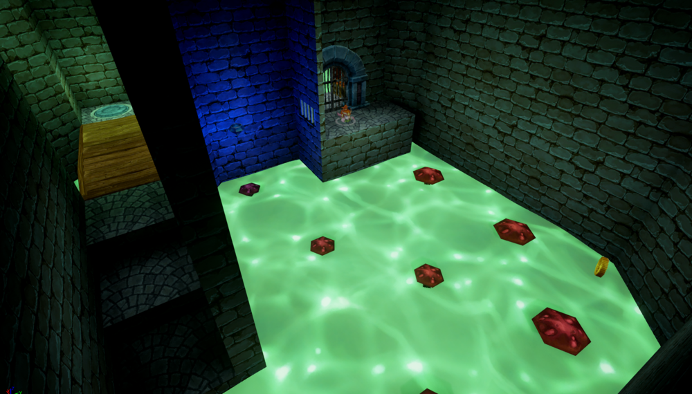 In the Druid's starting room, players must bounce across mushrooms and avoid the murky water in order to activate the pressure plate across the bridge and allow the Warrior to cross.