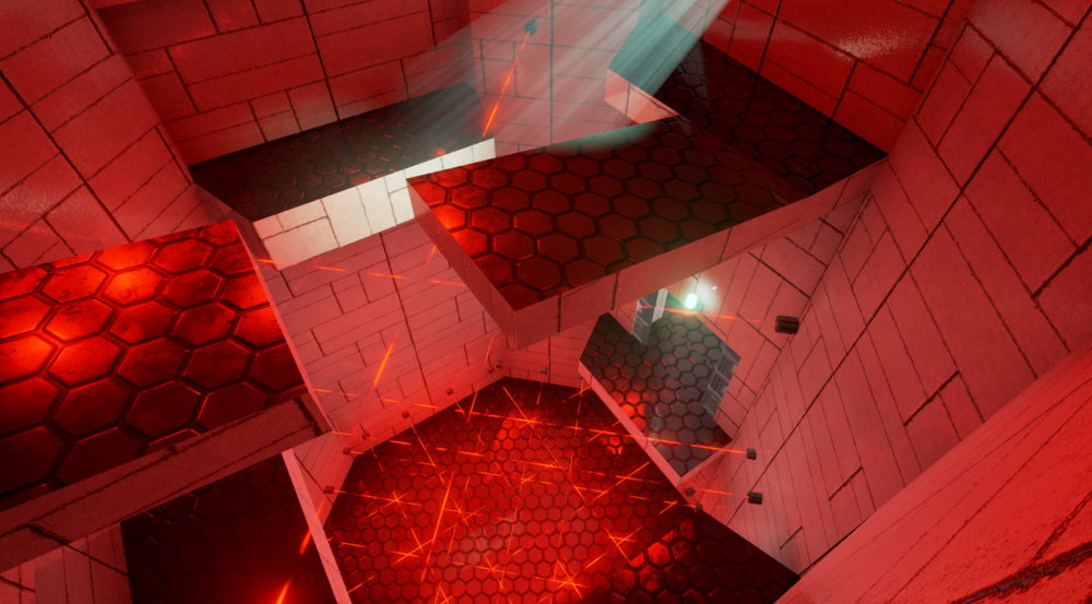 In this part of the stealth beat, players must descend a security tower riddled with laser tripwires. They must also avoid a security camera at the top of the tower, looking down.