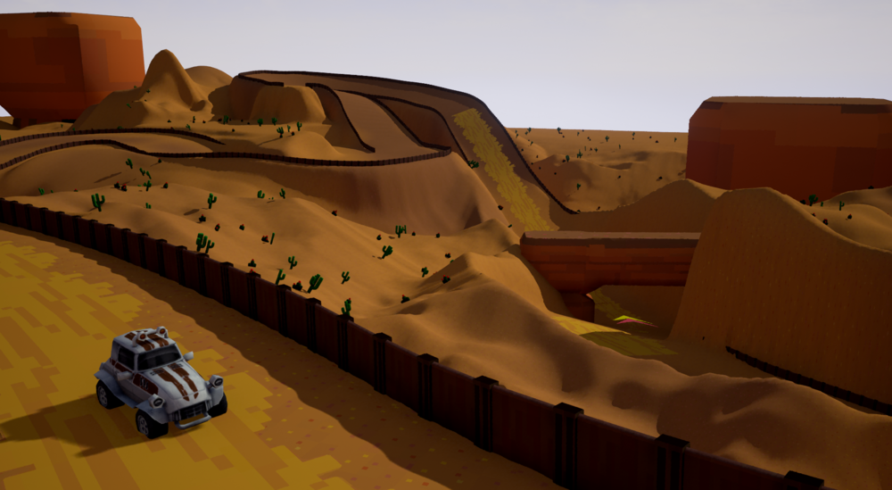 Here, a player is about to round the corner and enter the canyon before emerging into the final straightaway.