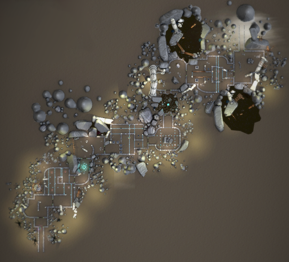 An overview of level 2. Level 2 features more open combat spaces, but still maintains choke points to allow players to feel powerful using their items and heads.