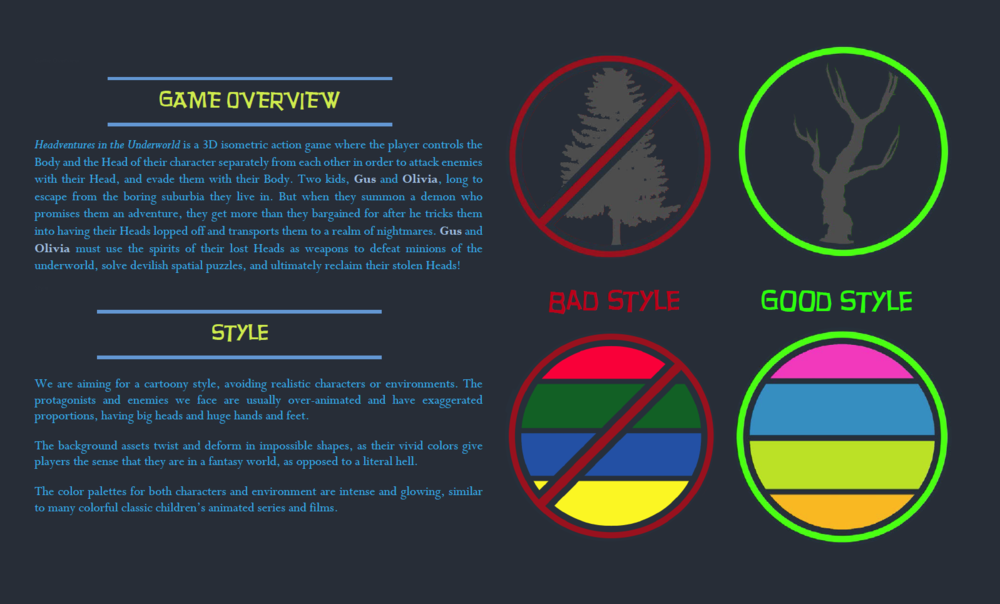 Like our GDD, diagrams and imagery were used wherever possible. I created the style guide icons on the right of the page to give readers a quick reference for the style of the game.