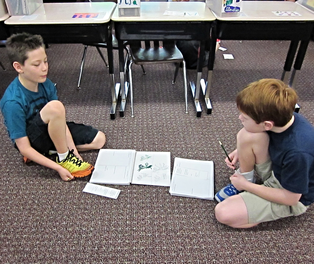 Students interviewed each other trying to dig for stories that could inspire tag designs.