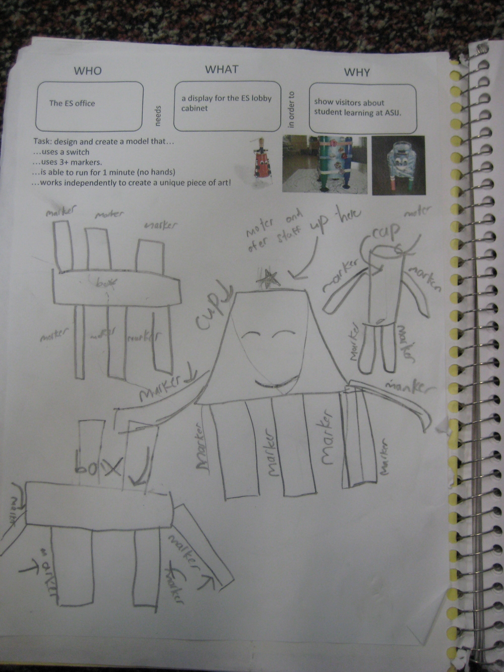 Initial planning and designs captured in Science Notebooks