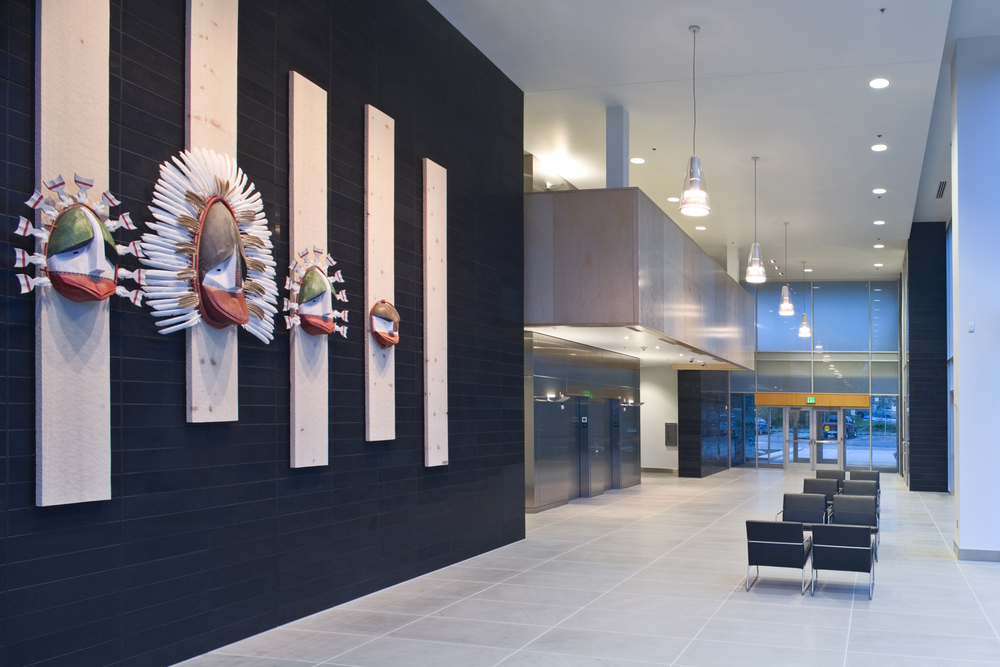 Drawing Inspiration from the Region of the Alutiiq People Geographic elements are reinterpreted in a contemporary design that exemplifies the Afognak Native Corporation's place on the cutting edge of technology in the business environment.