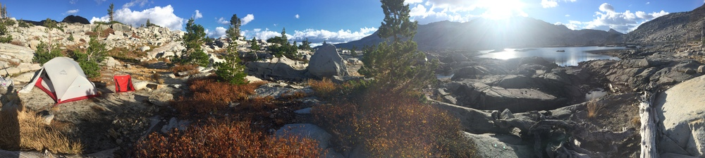 My campsite at Aloha, courtesy of iPhone panorama. Who's got two thumbs and forgot to put an SD card in her camera? That would be me!