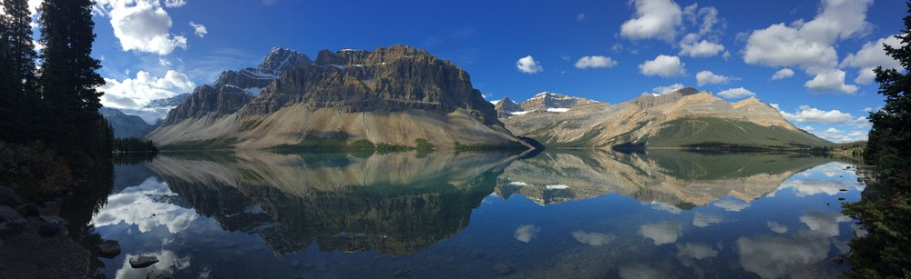 "Only appropriate reaction: ""HOLY SHIT."" [Bow Lake, Canada]"