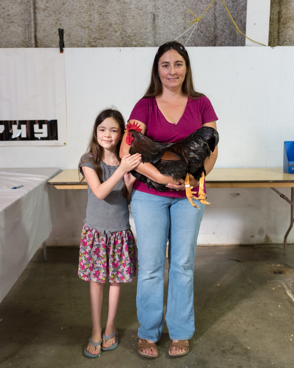 Daughter, Mother, Rooster. Red Bluff.