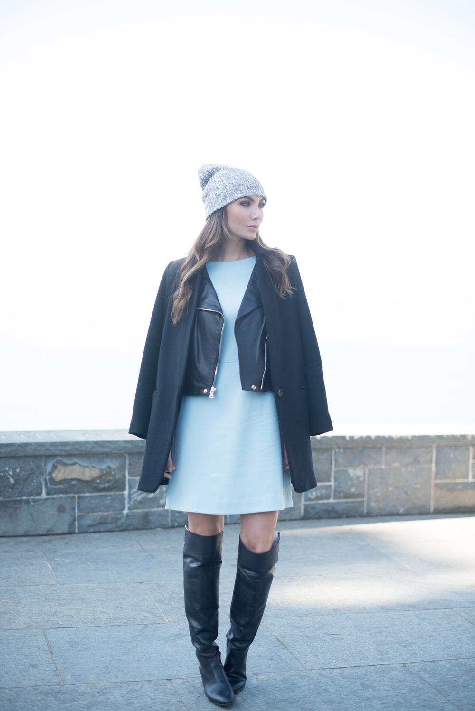WEARING: American Apparel Fisherman Beanie, Kim and Proper Dress, Reformation Arctic Leather Jacket,Pink Tartan Car Coat, Zara Boots (similar here), Love Juliet Constance Cuff and Ara Cuff