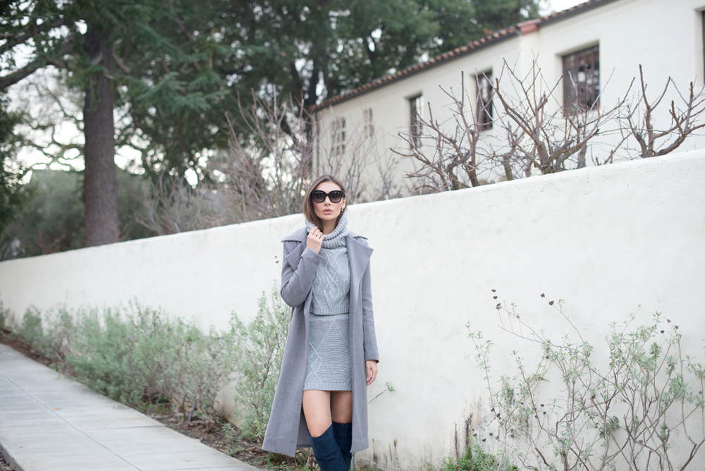WEARING: Missguided Roll Neck Cable Knit Sweater, Cable Knit Skirt, Over-the-knee Boots, Waterfall Coat in Grey, Céline Audrey Sunglasses, Love Juliet Pearl Hardware Earrings, Dainty and Bold Twisted Nail Rings and Cross Crystal Ring