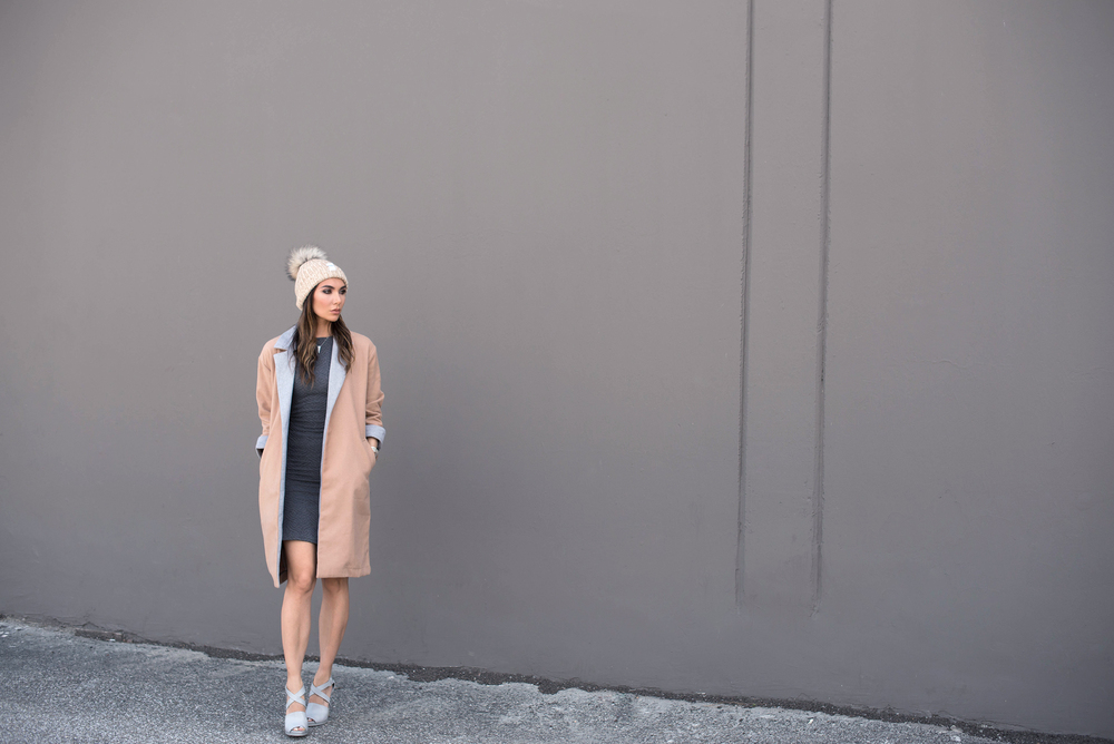 WEARING: Missguided Contrast Lapel Coat, Lipsy Dress, Mimu Alpaca Wool Claudia Hat, Alexander Wang Shoes (old), Dainty & Bold Midi Ring, Pearl Tier Ring, and Rose Ring, Kelly Bello Stretched Necklace and Pearl and Diamond Ring, Marshelleys Manic Cuff, and Manic Midi Ring